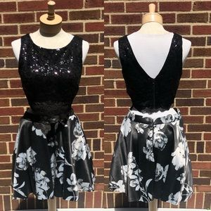 Jodi Kristopher Black Floral Sequined Two Piece